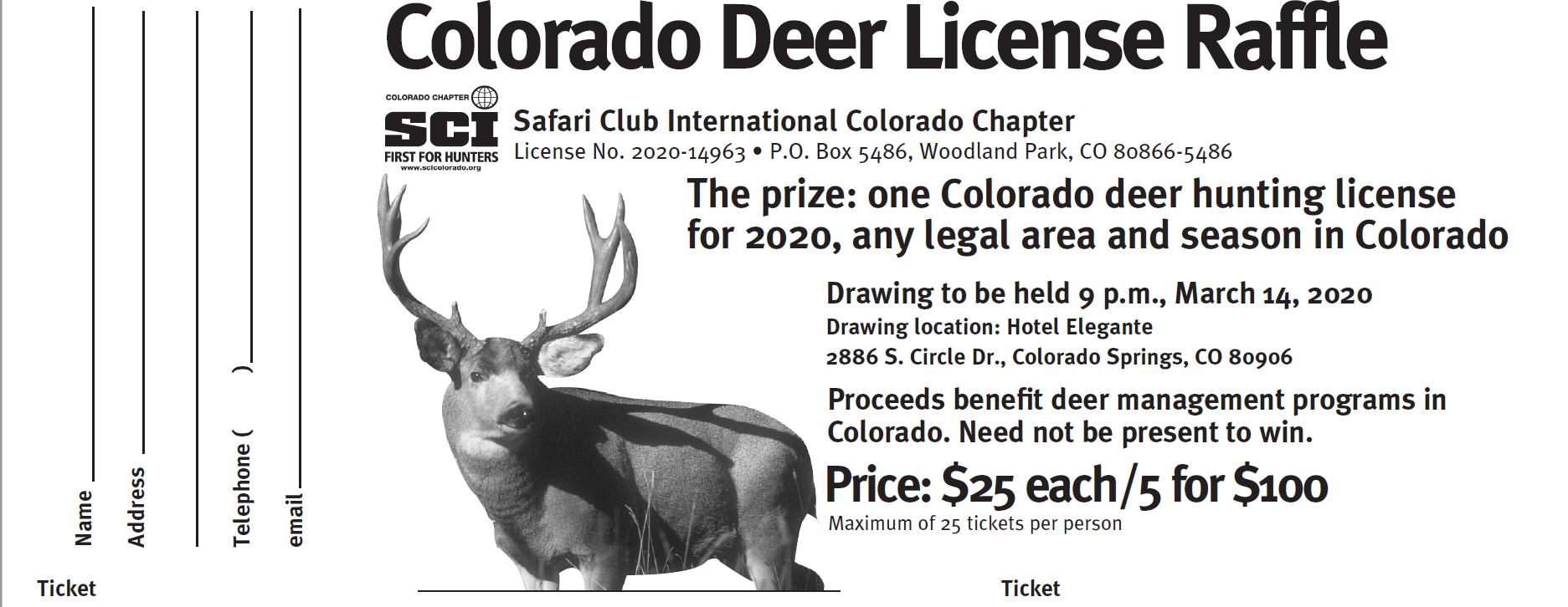 Statewide Deer License Raffle - 1 Ticket