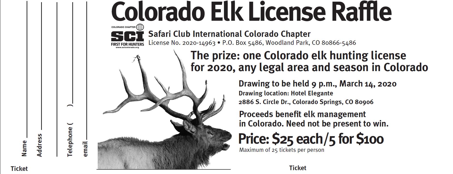Statewide Elk License Raffle - 5 Tickets