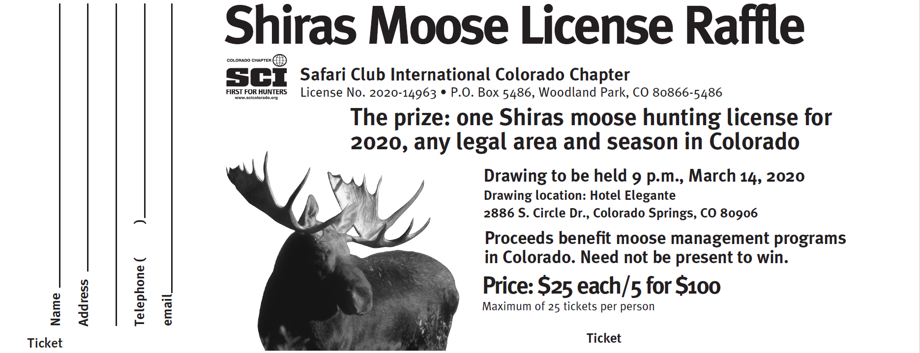 Statewide Moose License Raffle - 5 Tickets