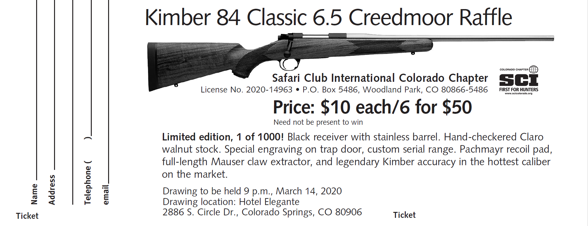 Kimber 84 Classic Two Tone Limited Edition (1 of 1000) - 1 Ticket