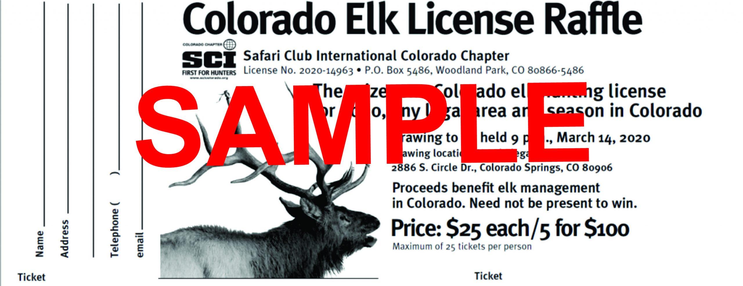2021 Statewide Elk License Raffle - 5 Tickets