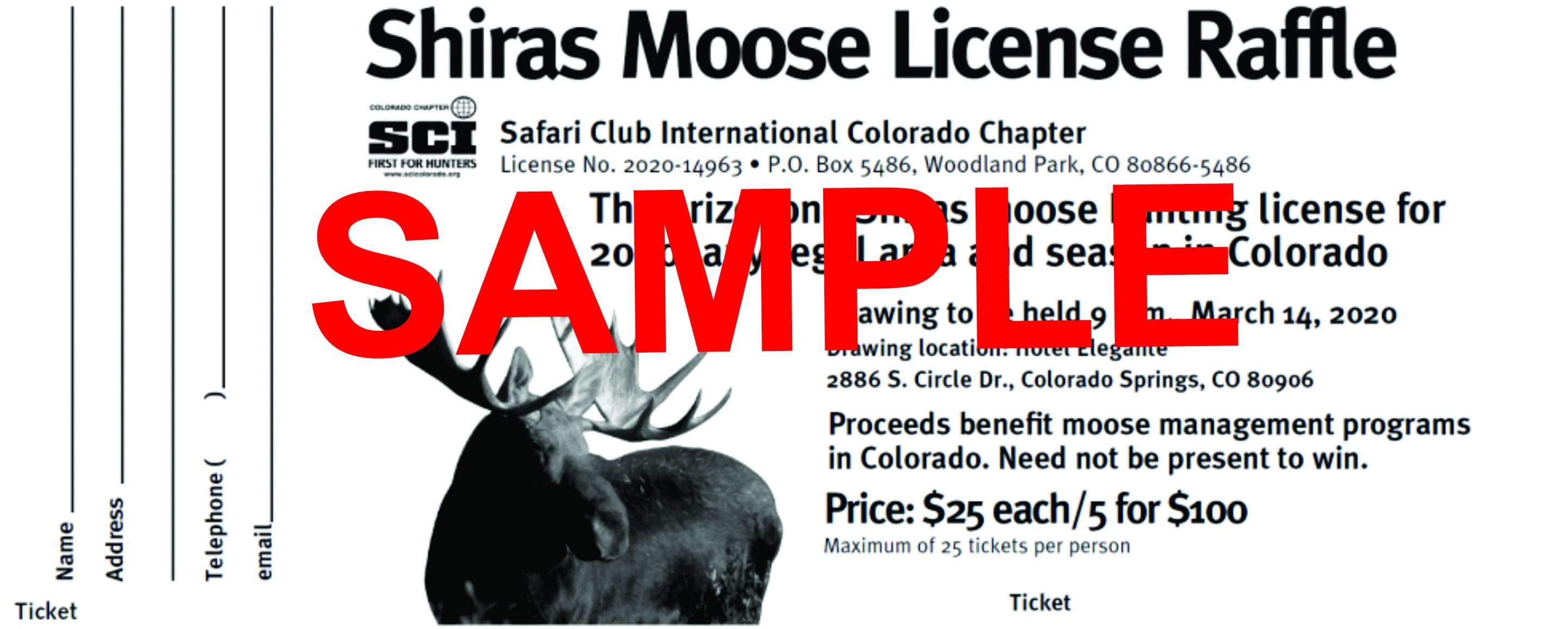 2021 Statewide Moose License Raffle - 5 Tickets